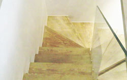 Staircase finished with white silicone sealant